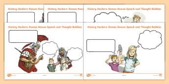 History Hackers: Roman Rescue Speech and Thought Bubbles Activity Sheets - character, inference, romans, plot, understanding, story, comprehension, worksheets
