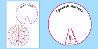 Spanish Action Words Spinner Activity - Vocabulary, KS2, ourselves, actions, body, parts, words, spinner, activity, game