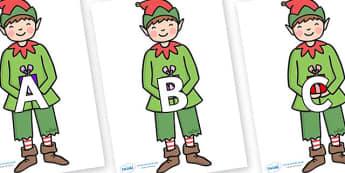 A-Z Alphabet on Elf (Plain) - A-Z, A4, display, Alphabet frieze, Display letters, Letter posters, A-Z letters, Alphabet flashcards