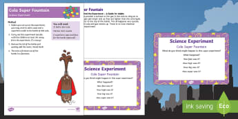 EYFS Cola Super Fountain Science Experiment and Prompt Card Pack - Superheroes, superhero, cola, coke, pepsi, mints, mentos, rocket