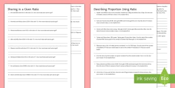 Ratio Activity Sheets - worksheet, Sharing, Proportion, Unequal, Dividing, Splitting, problem solving, missing