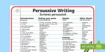 Persuasive Writing Word Mat English/Romanian - Persuasive Writing Word Mat - writing, write, word mat, keywords, persasive writing, persausive, per