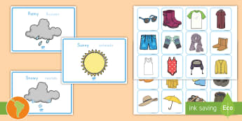 Weather Clothes Sorting Activity US English/Spanish (Latin) - Weather Clothes Sorting Activity - clothes sorting activity, weather and the seasons, clothes, weath