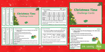 UKS2 Time Christmas Maths Challenge Cards - Christmas, xmas, Xmas, maths, christmas maths, xmas maths, real life problems, maths problems, two s
