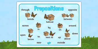 Butterfly Themed Prepositions Word Mat - butterfly, preposition