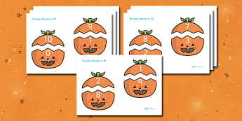 Number Bonds to 10 (on Pumpkins) - Number Bonds, Matching Cards, Number Bonds to 10, Halloween, pumpkin , witch, bat, scary, black cat, mummy, grave stone, cauldron, broomstick, haunted house, potion, Hallowe'en