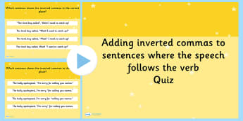 Adding Inverted Commas to a Sentence SPaG Punctuation PowerPoint