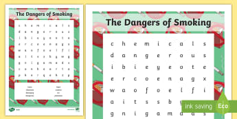 The Dangers of Smoking Word Search - smoking, smoke, dangers, PSHE, PSHCE, health, drugs, nicotine, healthy living, choices,
