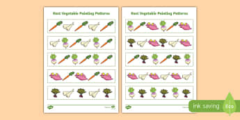 Root Vegetables Painting Pattern Activity Sheet, worksheet