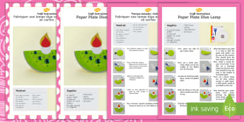 Paper Plate Diva Lamp Craft Instructions English/French -  paper plate, diva lamp, craft, instructions, diva pots, diya
