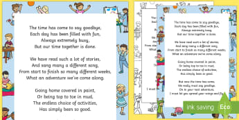 Nursery Teacher Leaving Poem - End of Year, Poetry, Goodbye, Thank you, Farewell