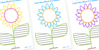 Look How Much Ive Grown Flower Writing Frames - writing frames, growing, flower writing frames, flowers, writing frame, frame, guide, writing, writing aid, writing template, template, literacy