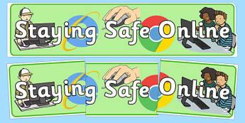 Staying Safe Online Display Banner - ICT, IT, internet safety