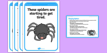 Foundation PE (Reception) Sleeping Spiders Cool-Down Activity Card - physical activity, foundation stage, physical development, games, dance, gymnastics