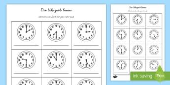 Die Uhrzeit lesen Arbeitsblatt - Zeit, Uhrzeit, Zeit lesen, Zeit erkennen, Uhr, schreiben, ablesen,German