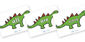 Tricky Words on Dinosaurs - Tricky words, DfES Letters and Sounds, Letters and sounds, display, words