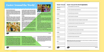 Easter Around the World Reading Comprehension Activity - English, Reading comprehension, Easter, traditions, Passover, Eggs, Lent, Good Friday, Easter Sunday, reading practice