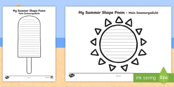 Summer Shape Poetry Writing Template English/German - Templates - seasons, weather, poems, poem, waether, poerty, WHEATHER, seaons, wetaher, petry, peoms,