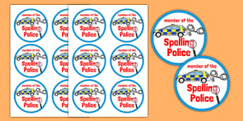 Spelling Police Badges - spelling police, spell, police, badges