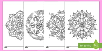 Mandala Themed Mindfulness Coloring Activity - mandala. color, coloring, activity, art, India