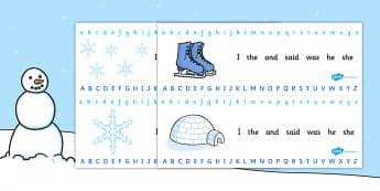 Winter Alphabet Strips - alphabet, letters, writing aid, winter, winter alphabet, snowflakes, winter strips, winter writing aid, writing area, spelling aid, spelling
