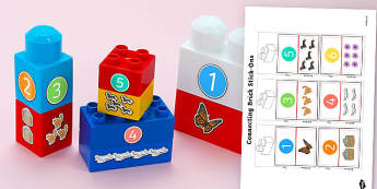 Numerals and Objects to Ten Matching Connecting Bricks Game - numerals, objects, ten, matching, connecting bricks, game, connect, match