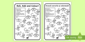 Dinosaur Colour and Roll Activity Sheet English/Romanian - Dinosaur Colour and Roll Activity Sheet - dinosaurs, dinosaur games, EAL