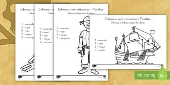 Colorear con números: Piratas - pirata, piratas, pintar, colorear, colores, colorea, colorear con números, números, arte, barco, l