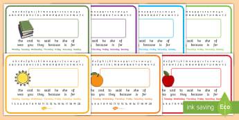 Keywords Placemats Editable - foundation stage keywords, key stage 1 key words, high frequency words, placemat, desk mat