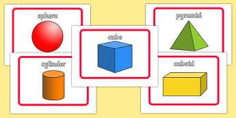 3D Shape Flashcards - ESL Shape Vocabulary Flashcards