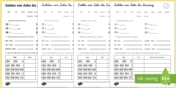 Numbers Ten to Twenty Activity Sheet German - Numbers, Counting, German, worksheet