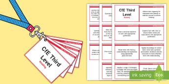 *NEW* CfE Third Level Reading Lanyard-Sized Benchmarks - third level reading assessment benchmarks,Scottish
