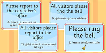 School Office Reception Signs EAL Albanian Version - EAL display