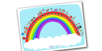 Rainbow Sounds Display Posters - education, home school, child development, children activities, free, kids, worksheets, how to write, literacy