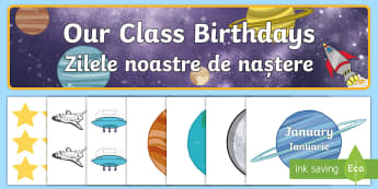 Editable Birthday Display Pack English/Romanian - Editable Birthday Display Set Space - EAL, space