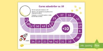 Cursa adunărilor cu 10 Fișă de activitate - află termen necunoscut, matematică, adunări, scăderi, activități, jocuri, fișe,Romanian