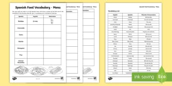 Spanish Food Vocabulary Menu - spanish, food, vocabulary, language, spain