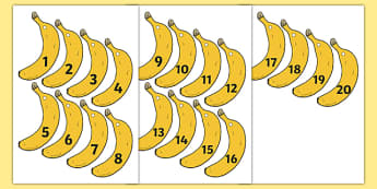 Banana-Themed Number Fan 1-20 - banana, number fan, 1-20, numbers, fans, fan