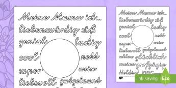 Meine Mama ist... Arbeitsblatt: Lesen und Malen - Muttertag, Adjective, mother's day, adjectives,German