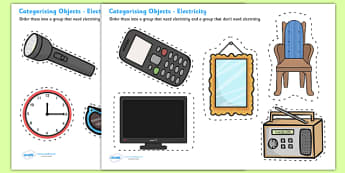 Electrical Items Sorting Card Activity - Electric, sorting card, flashcards, sort, activity, safety, safe, cards, word card, flashcards, writing aid, power, circuit, electricity, battery