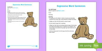 Expressive Word Sentences Activity - fun, words, literacy, expression, creative, imagination,Australia