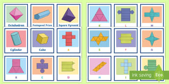 3D Shapes and Nets Matching Cards - Match the 3D Net Activity Sheet - 3d, net, worksheet, match, sheet, activity sheet
