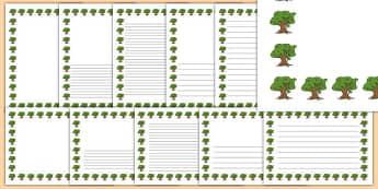 Oak Tree Themed Page Borders - oak tree, themed, page borders, page, borders