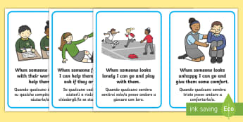 How to Be a Good Friend Cards English/Italian  - classroom, behavious, exercise, friends, italian, italiano, cards