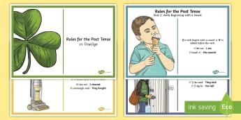 The Past Tense (An Aimsir Chaite) Basic Rules Display Posters - an, aimsir, chaite, aimsir, caite, display, rules