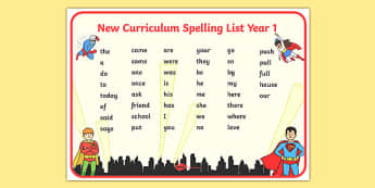 Superhero Themed Spelling List Year 1 Word Mat - superhero, spelling list, spelling, list, year 1, word mat