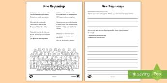 New Beginnings Poem Activity Sheet - school, poem, rhyme, rhyming couplets, classroom, worksheet, transition