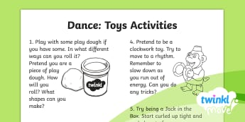 Twinkl Move - Year 2 Dance: Toys Home Learning Tasks - Move, Key Stage 1, KS1, Year 2, Y2, PE, Physical Education, Dance, Sport, Exercise, Toys, Home Learn