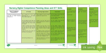 Wales - English Medium - Digital Competence Framework Nursery Planning Ideas - Digital Competence Framework, Planning, Wales, ICT, ICT in Key Stage 2, Digital Competence, Assessme