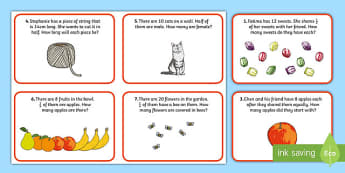 Fractions Word Problems Maths Challenge Cards